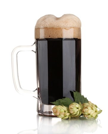 unstrained: dark beer in a mug and green hop isolated on white Stock Photo