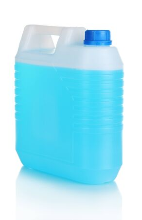 antifreeze: blue liquid in the canister isolated on white