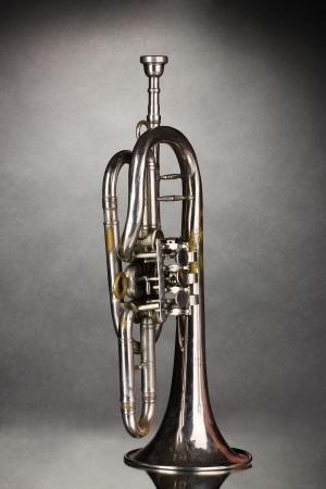 fanfare: old trumpet on gray background Stock Photo