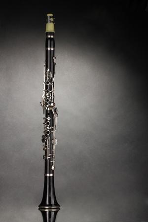 clarinete: clarinete hermosa sobre un fondo gris