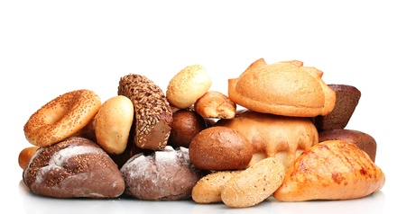 bakery products: tasty breads and rolls isolated on white