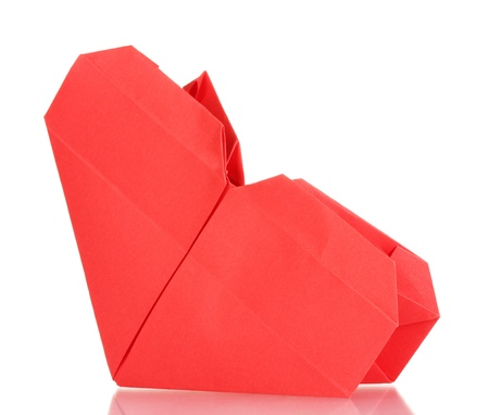 El Corazón De Origami De Papel Aislado En Blanco Fotos, Retratos ...