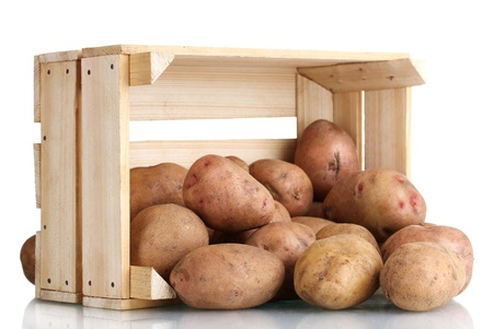 raw potatoes in a wooden box isolated on white Stock Photo - 11069452