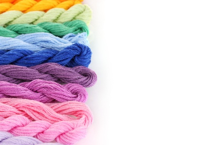 cornrows: sewing threads for embroidery isolated on white Stock Photo