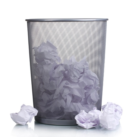 Metal trash bin from paper isolated on white Stock Photo
