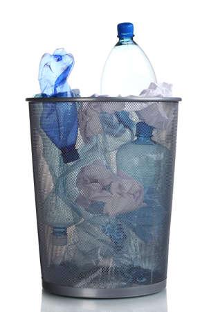 Metal trash bin from plastic bottles isolated on white Stock Photo - 11192865