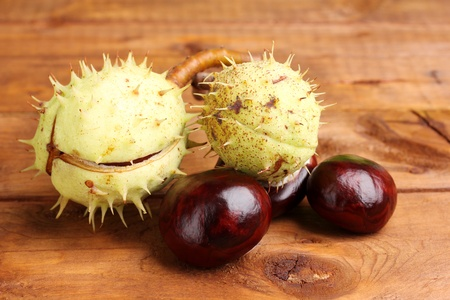 green and brown chestnuts on wooden background Stock Photo - 11195336