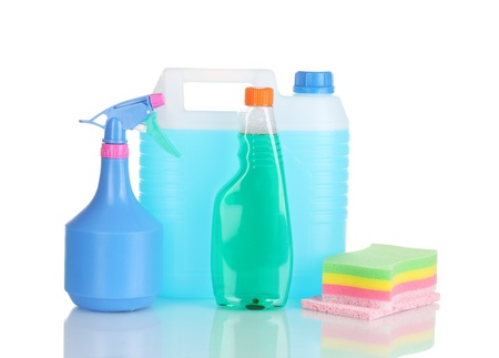canister with liquid and detergent bottles isolated on white Stock Photo - 11192988