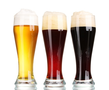 three glasses with different beers isolated on white Stock Photo - 11193068