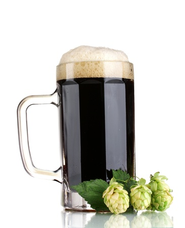dark beer in a mug and green hop isolated on white Stock Photo - 11288232