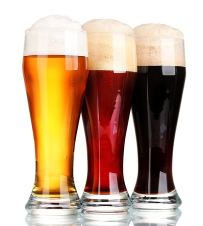 unbottled: three glasses with different beers isolated on white Stock Photo