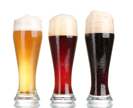three glasses with different beers isolated on white Stock Photo - 11288262