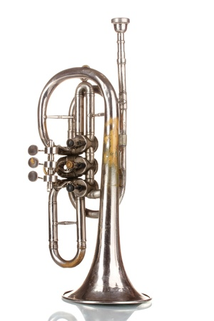 fanfare: old trumpet isolated on white Stock Photo