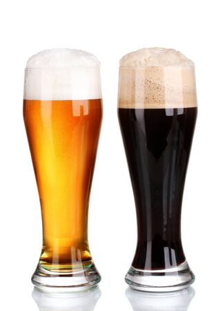 black and golden beer in glasses isolated on white Stock Photo - 11288589