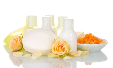 Hotel amenities kit on white background photo
