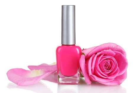 Pink nail polish with rose on white background photo