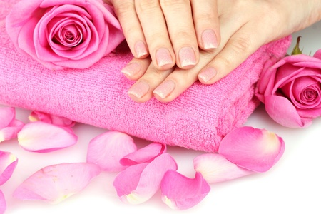 Pink towel with roses and hands on white background Stock Photo - 11407543