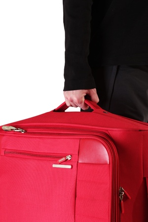 Man holding suitcase closeup photo