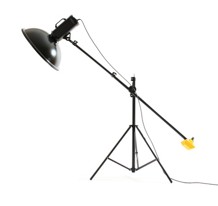 Studio flash with beauty dish on white background photo