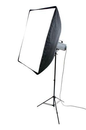 Studio flash on white background photo