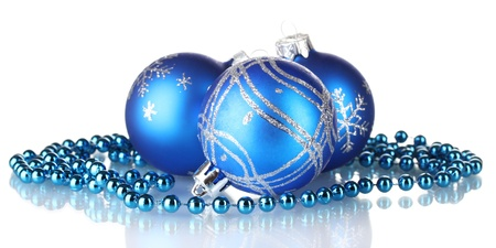 isolataion: Blue christmas balls isolated on white background