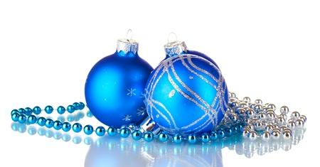 isolataion: Blue christmas balls isolated on white background