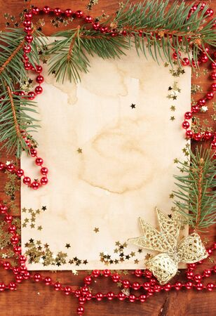 Christmas card on wooden table Stock Photo - 11407774