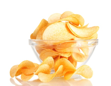 consuming: Delicious potato chips in bowl isolated on white Stock Photo