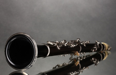 beautiful clarinet on a gray background photo