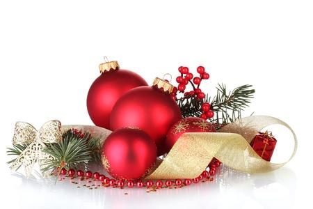 christmas beads: Christmas ball and green tree on white background