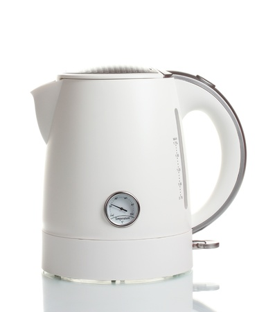 electric tea kettle: White electric kettle isolated on white