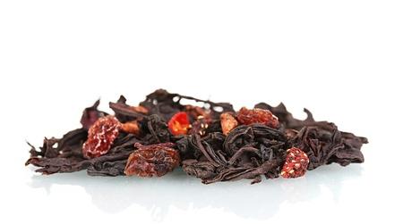Pile of aromatic jasmin dry tea leaves isolated on white photo