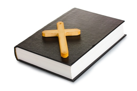 supplication: bible and wooden cross isolated on white