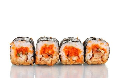 delicious sushi isolated on white photo