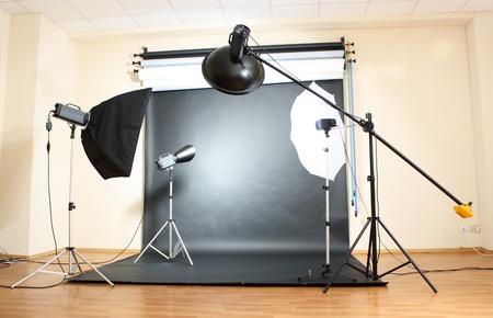 Studio flash on grey background Stock Photo - 11665052