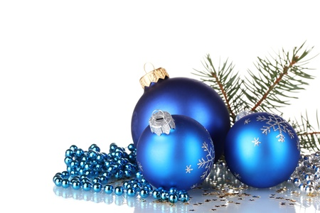 Christmas ball and green tree on white background