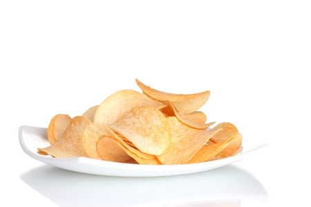 consuming: Delicious potato chips on plate isolated on white