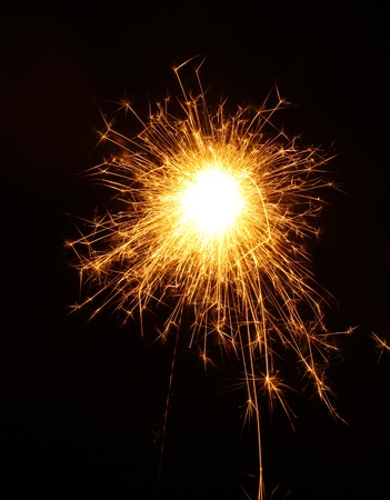 beautiful sparkler on black background photo