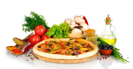 delicious pizza on wooden board, vegetables, spices and oil isolated on white Stock Photo - 11725841