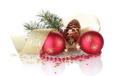 Christmas ball and green tree on white background photo