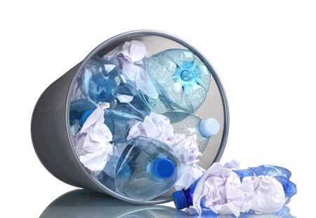 Metal trash bin from plastic bottles isolated on white Stock Photo - 11725860
