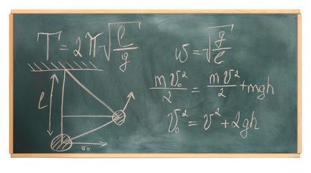 mathematician: formulas written on green chalkboard Stock Photo