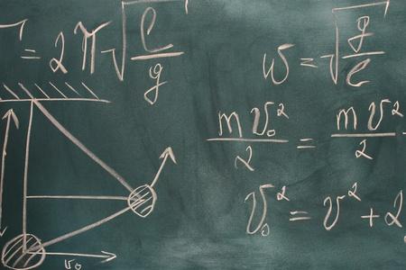 formulas written on green chalkboard Stock Photo - 11726386