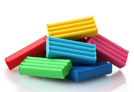 Children bright plasticine isolated on white Stock Photo - 11725239