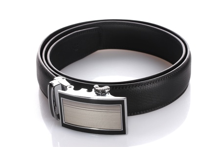 mens leather belt isolated on white photo