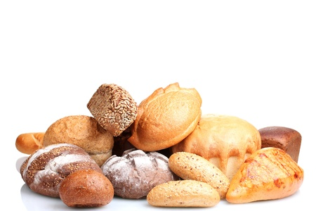 tasty breads and rolls isolated on white photo