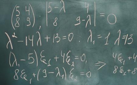 formulas written on green chalkboard photo