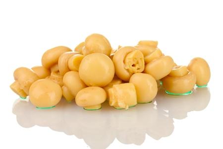 marinated: Marinated mushroom isolated on white