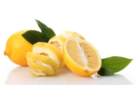 ascorbic: ripe lemons with leaves isolated on white