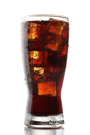 tall glass: Glass of cola with ice isolated on white Stock Photo